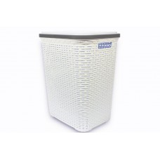 White Plastic Laundry Basket with Lid | Plastic Laundry Hamper | Rattan Style, Large, Cheap